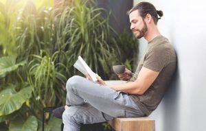Relaxed man reading.